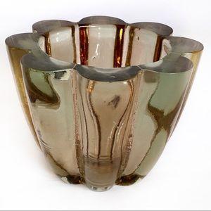 Vintage Modern Spain Heavy Decorative Glass Bowl